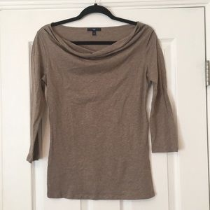 Light Brown / Tan Cawl-Neck 3/4 Sleeve Top